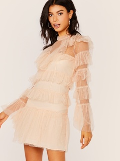 Tiered Ruffle Mesh Long Sleeve Mini Dress