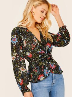 Sheer Floral Chiffon Long Sleeve Twist Blouse