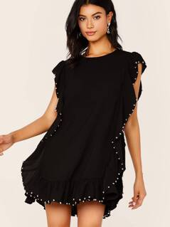 Back Keyhole Beaded Ruffle Trim Shift Dress