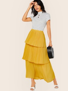 Elastic Waist Pleated Tiered Layered Maxi Skirt