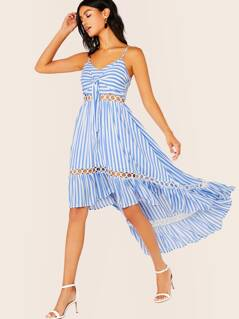 Tie Bodice Sleeveless High Low Hem Stripe Dress