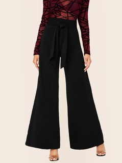High Waist Tie Wide Leg Flared Trousers