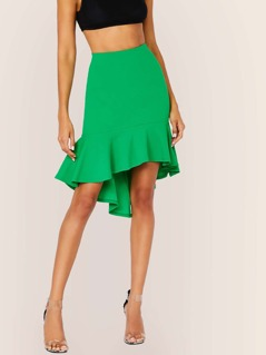 Elastic Waist High Low Ruffle Hem Skirt