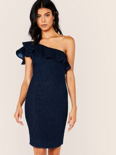 Ruffle One Shoulder Bodycon Mini Denim Dress