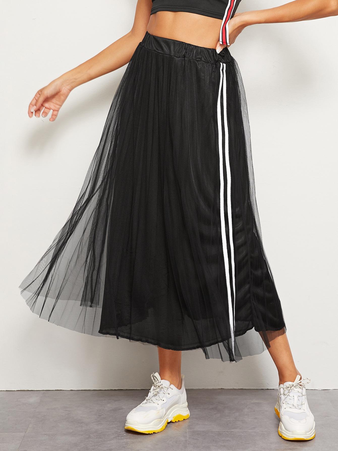 Фото - Сетчатая юбка с полосками от SheIn черного цвета