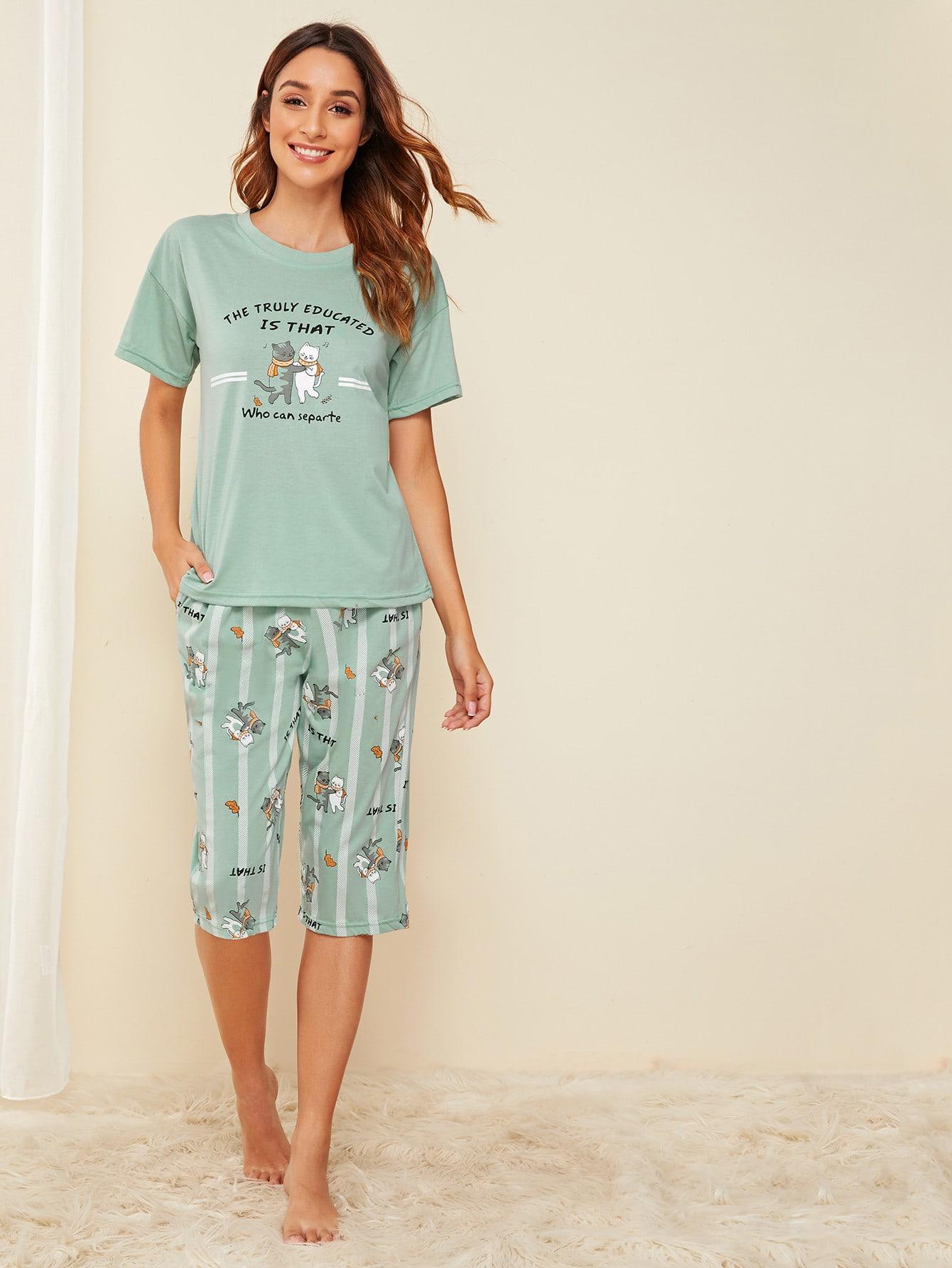 Фото - Полосатая пижама с текстовым и графическим принтом от SheIn цвет зелёные