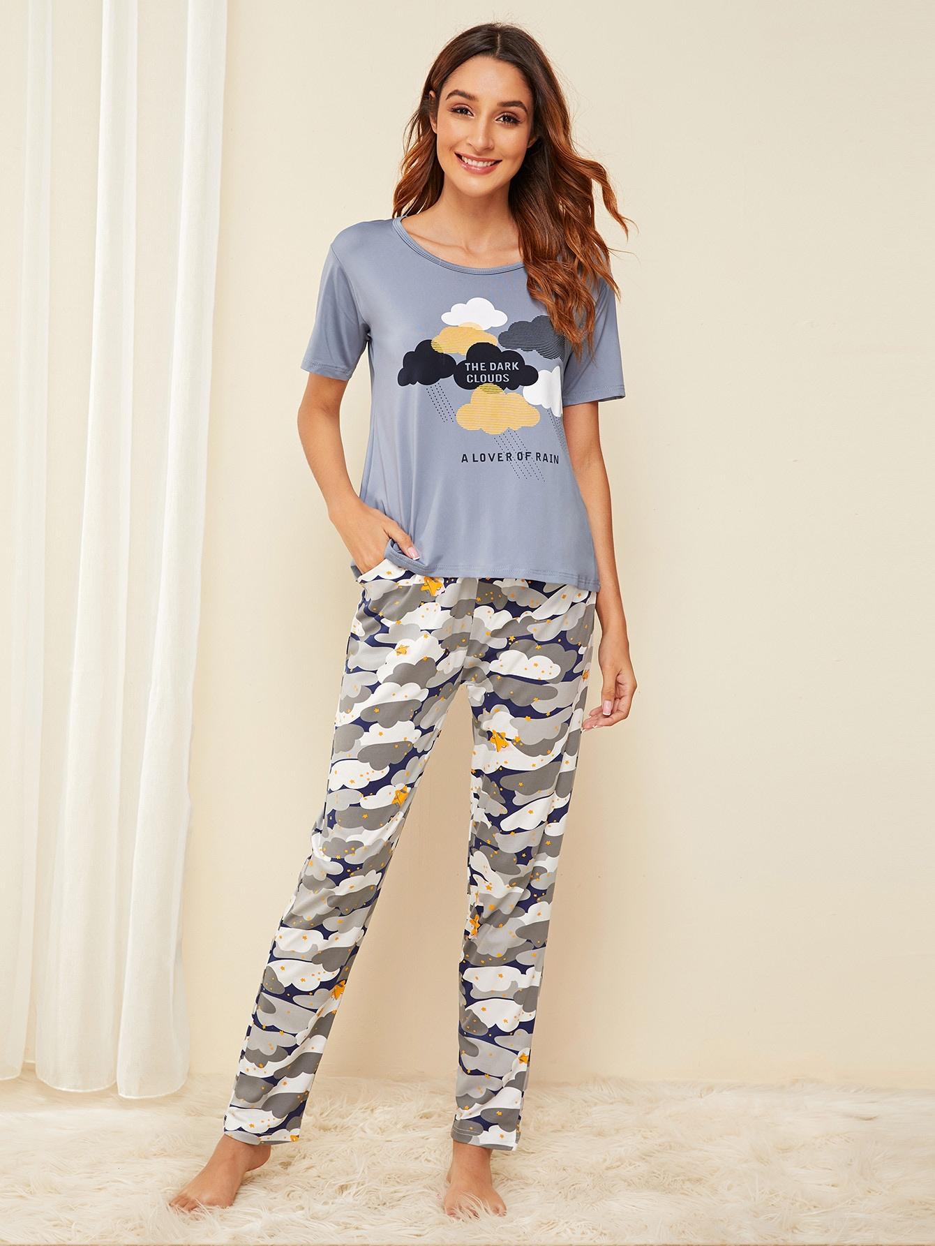 Фото - Пижама с графическим принтом от SheIn цвет многоцветный