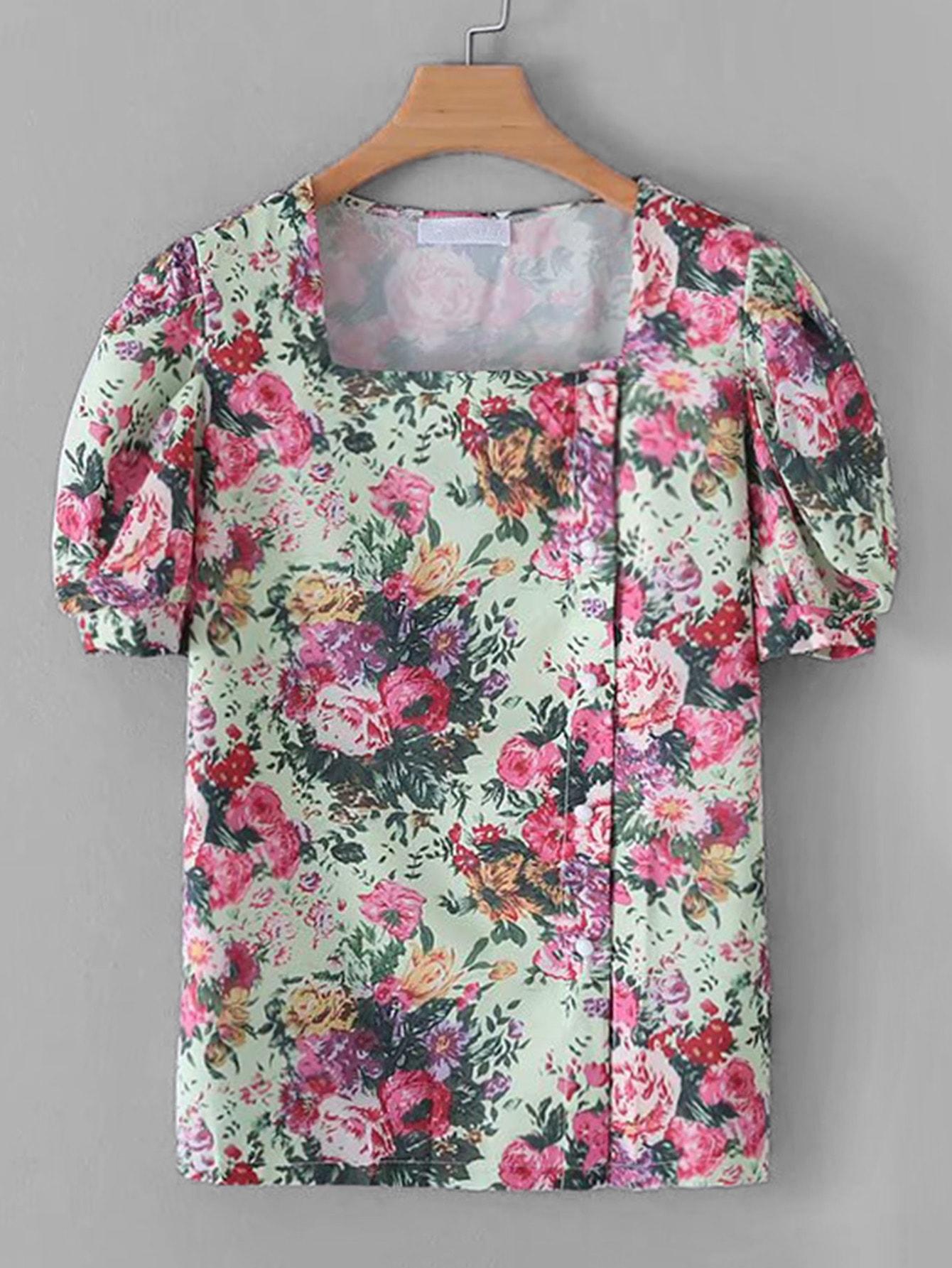 Фото - Блузу с цветочным принтом и квадрадным воротником от SheIn цвет многоцветный