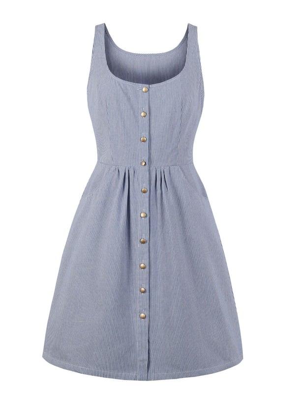 Фото - Полосатое платье с пуговицами размера плюс от SheIn цвет синие