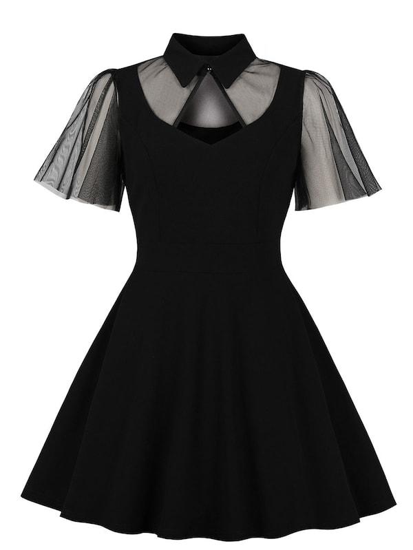 Фото - Платье с пуговицами и сеткой размера плюс от SheIn цвет чёрные