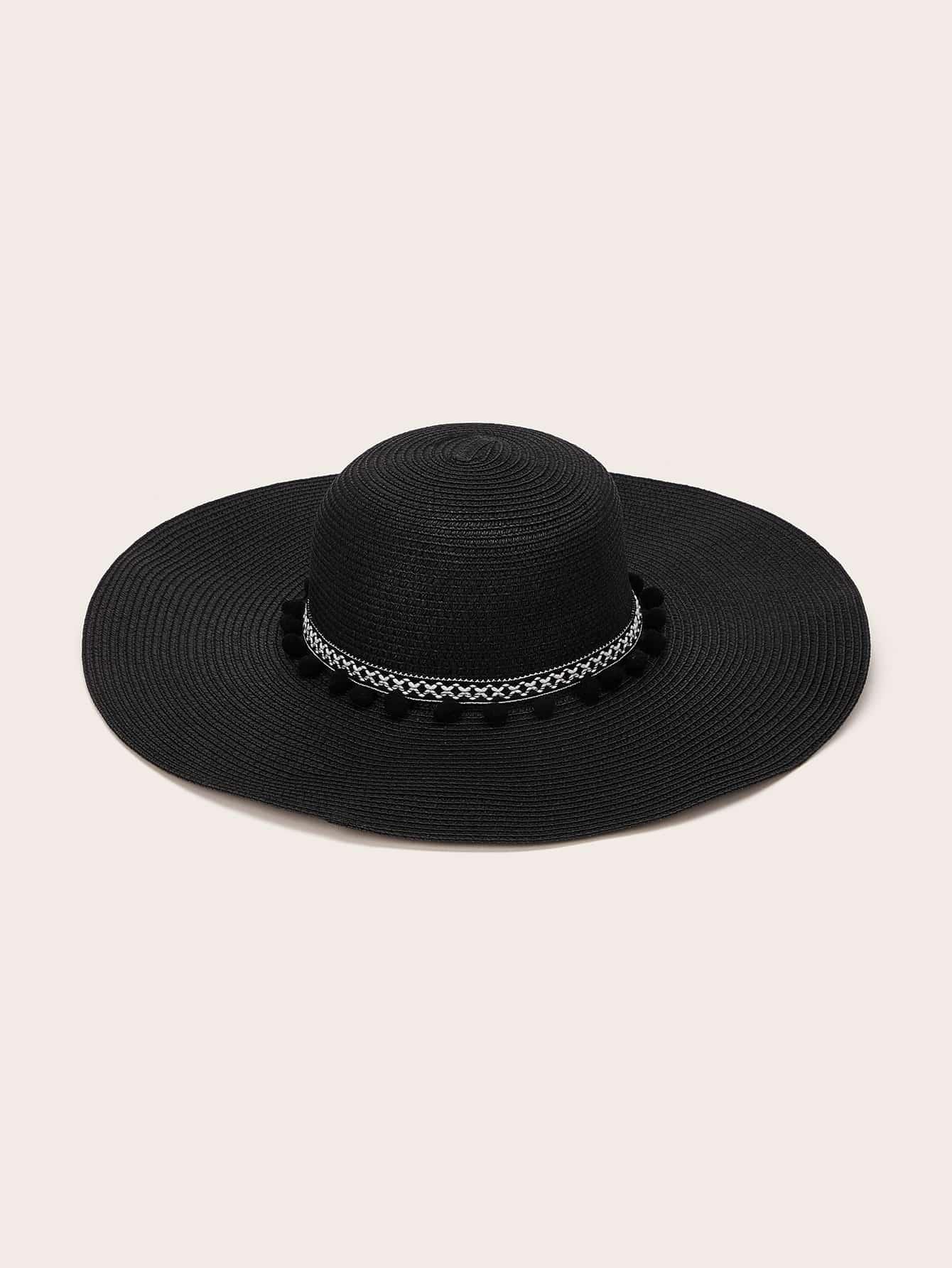 Фото - Флоппи-шляпа с помпоном и бантом от SheIn черного цвета