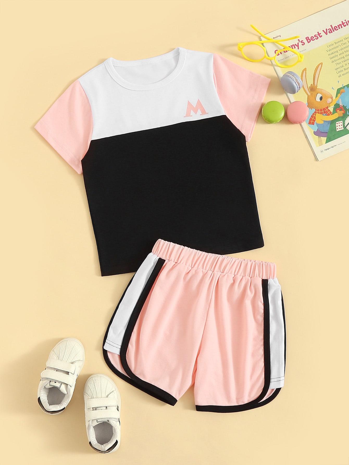 Фото - Кроить и шить футболка и шорты с контрастной отделкой для девочек от SheIn цвет многоцветный