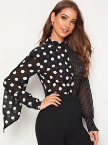 Polka Dot Ruffle Trim Blouse