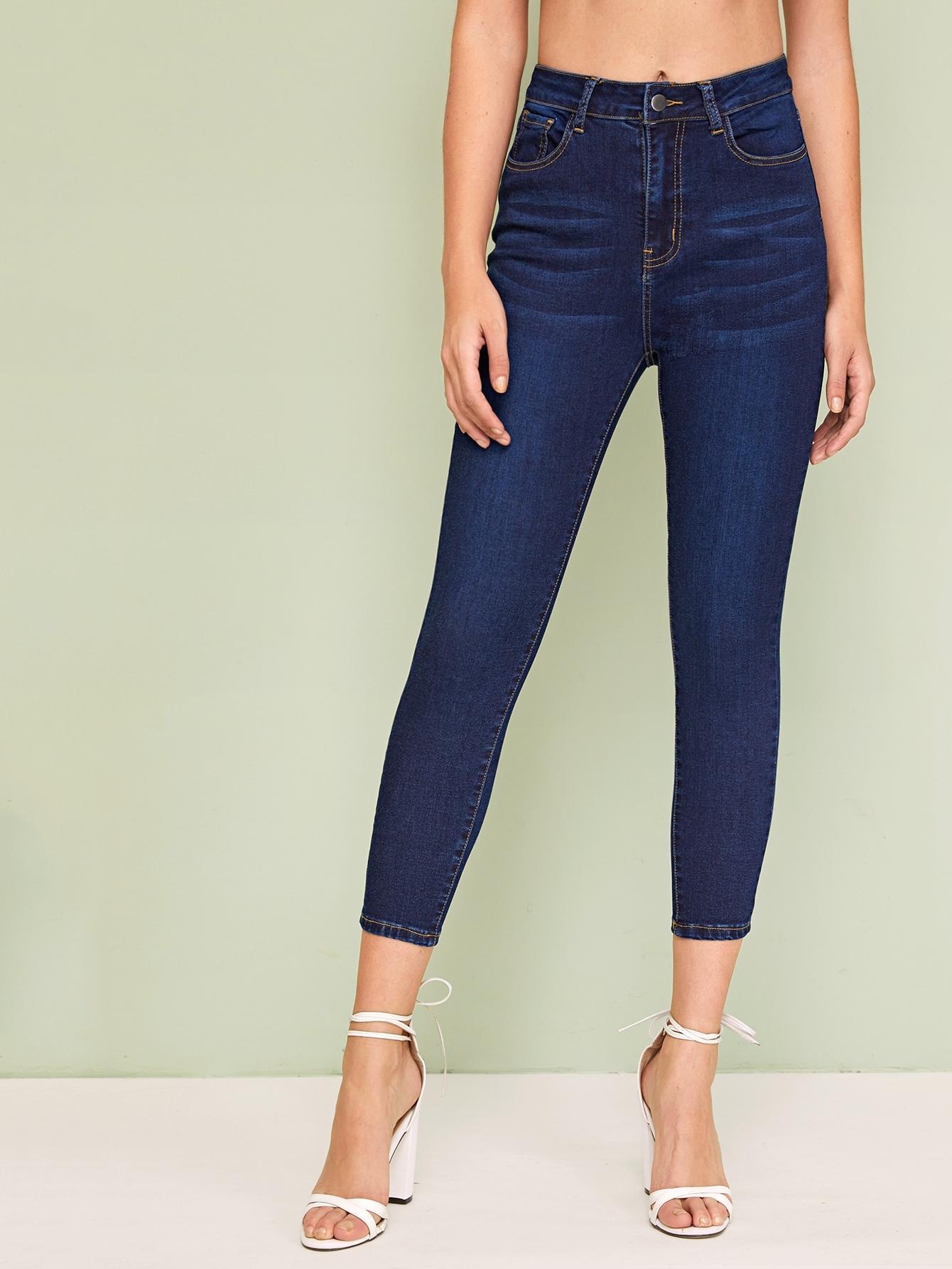 Фото - Модные облегающие джинсы от SheIn цвет темно синий