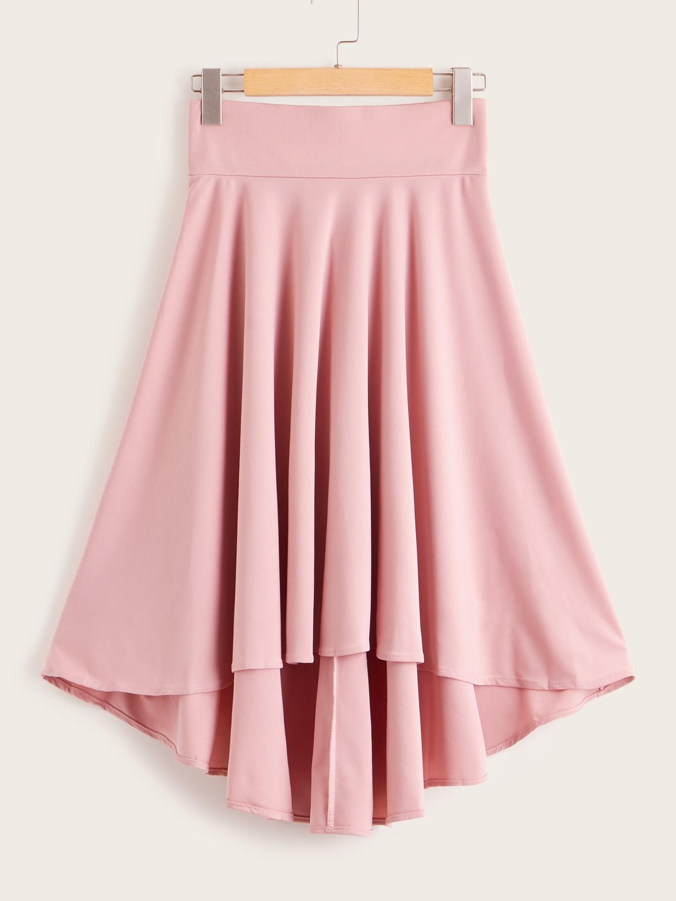 Фото - Асимметричная юбка с широкой талией от SheIn розового цвета