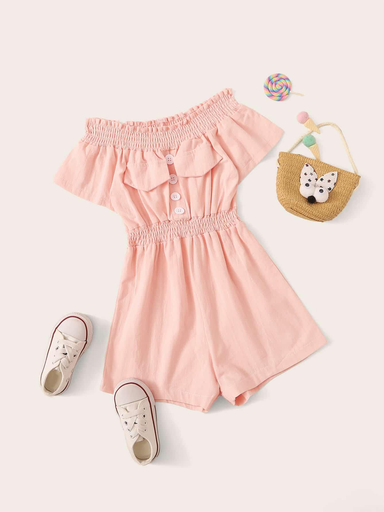 Фото - Однотонный комбинезон с открытым плечом и пуговицами для девочек от SheIn розового цвета