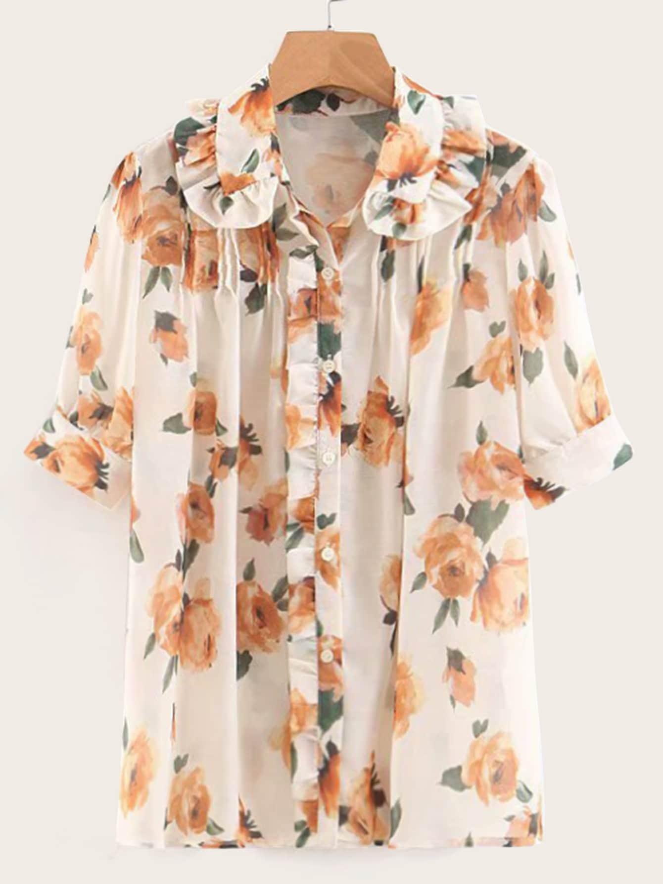 Фото - Блузу с пуговицами и цветочным принтом от SheIn цвет многоцветный