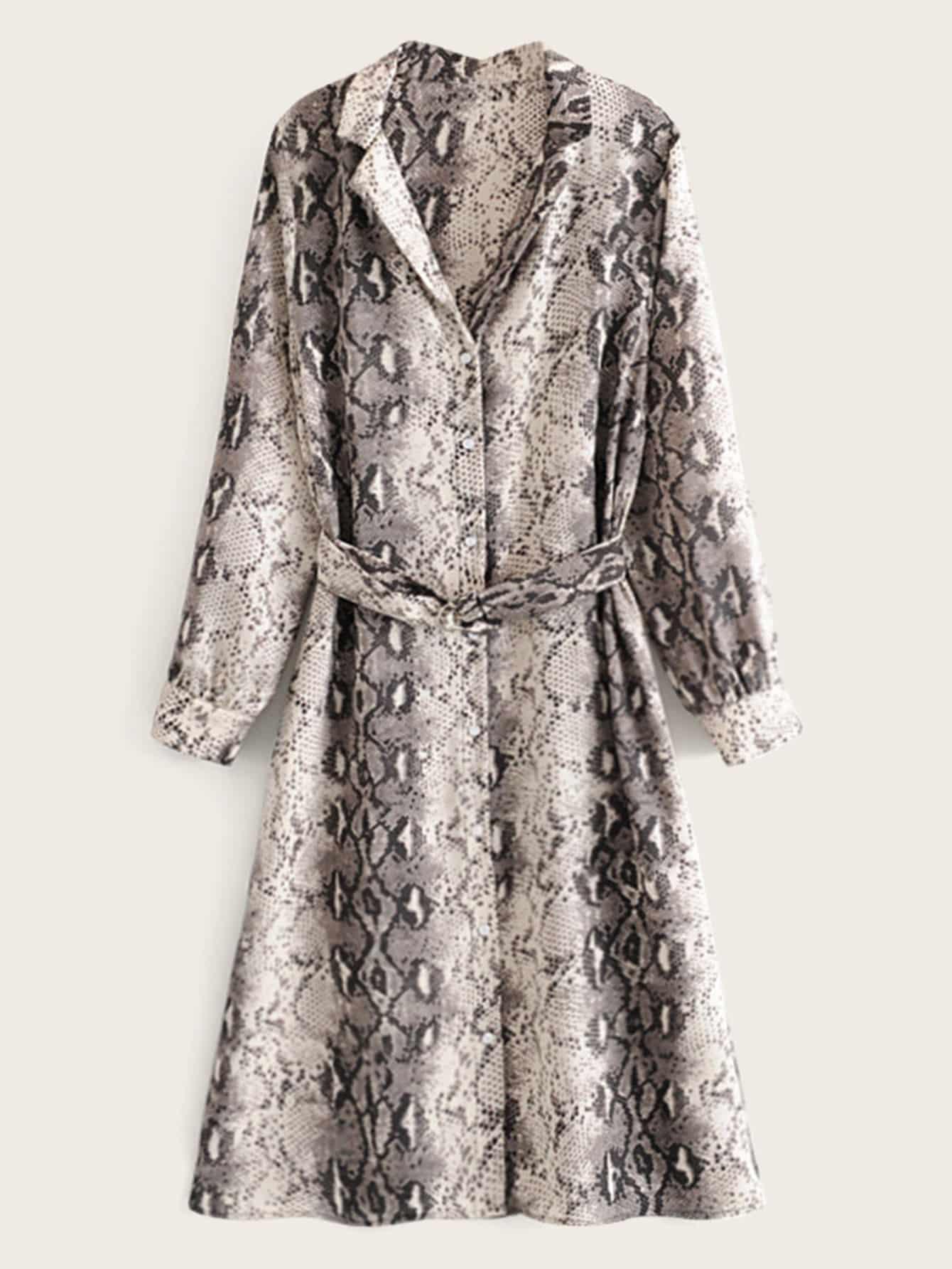 Фото - Платье с змеиным принтом и поясом от SheIn цвет многоцветный