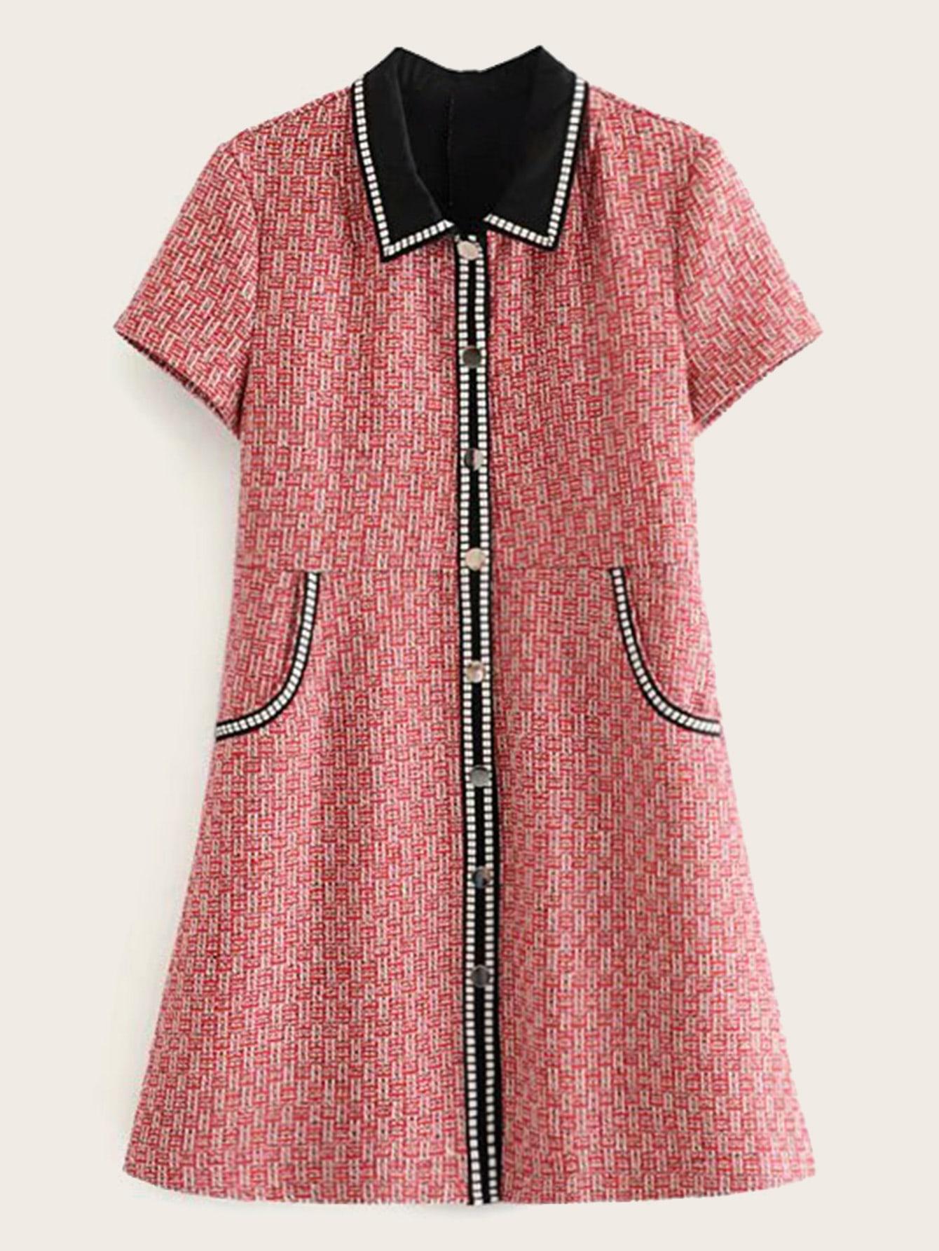 Фото - Платье с пуговицами и контрастным воротником от SheIn цвет многоцветный