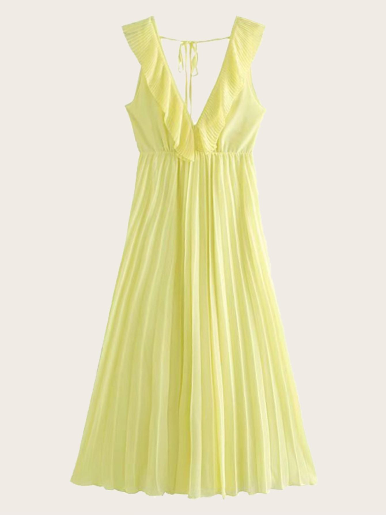 Фото - Платье с завязкой и оборкой от SheIn цвет жёлтые