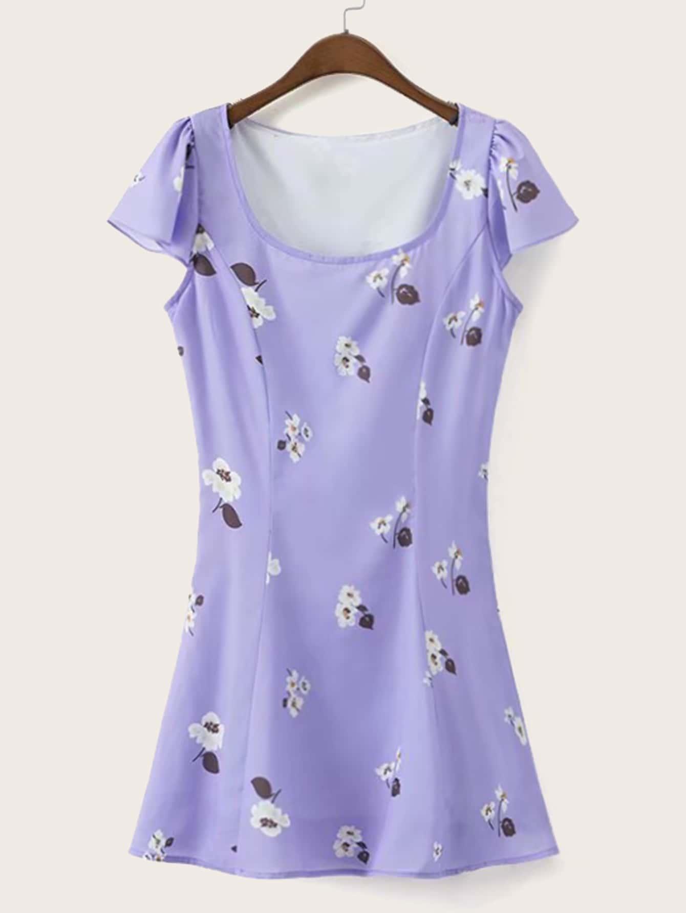 Фото - Платье с завязкой и цветочным принтом от SheIn цвет фиолетовые