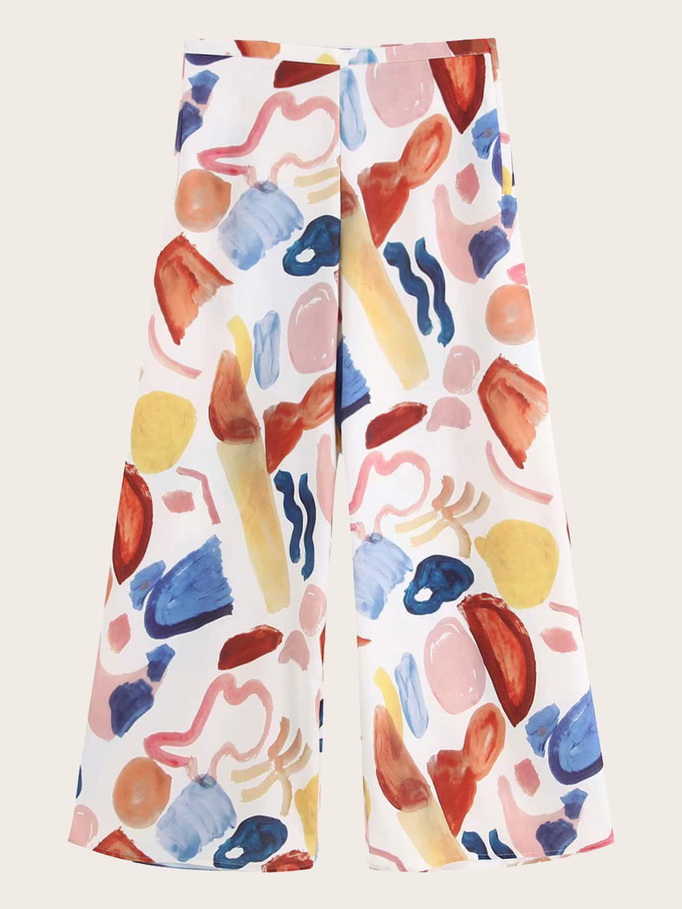 Фото - Широкие брюки с графическим принтом от SheIn цвет многоцветный
