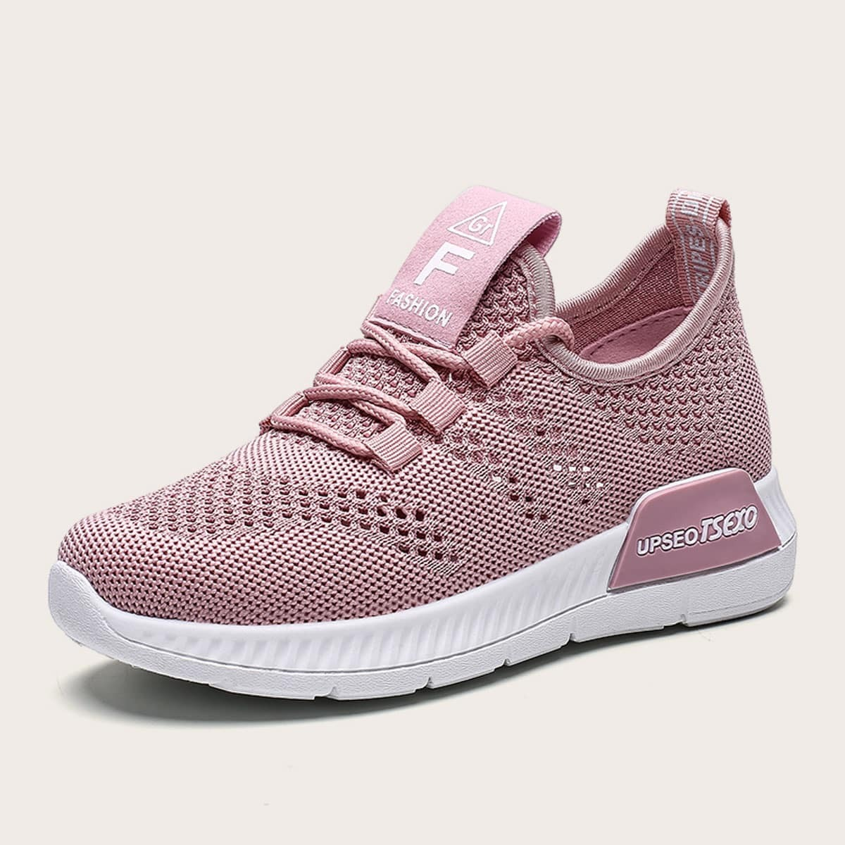 Meisjes Lace-up Front Willekeurige Letter Print Knit Sneakers