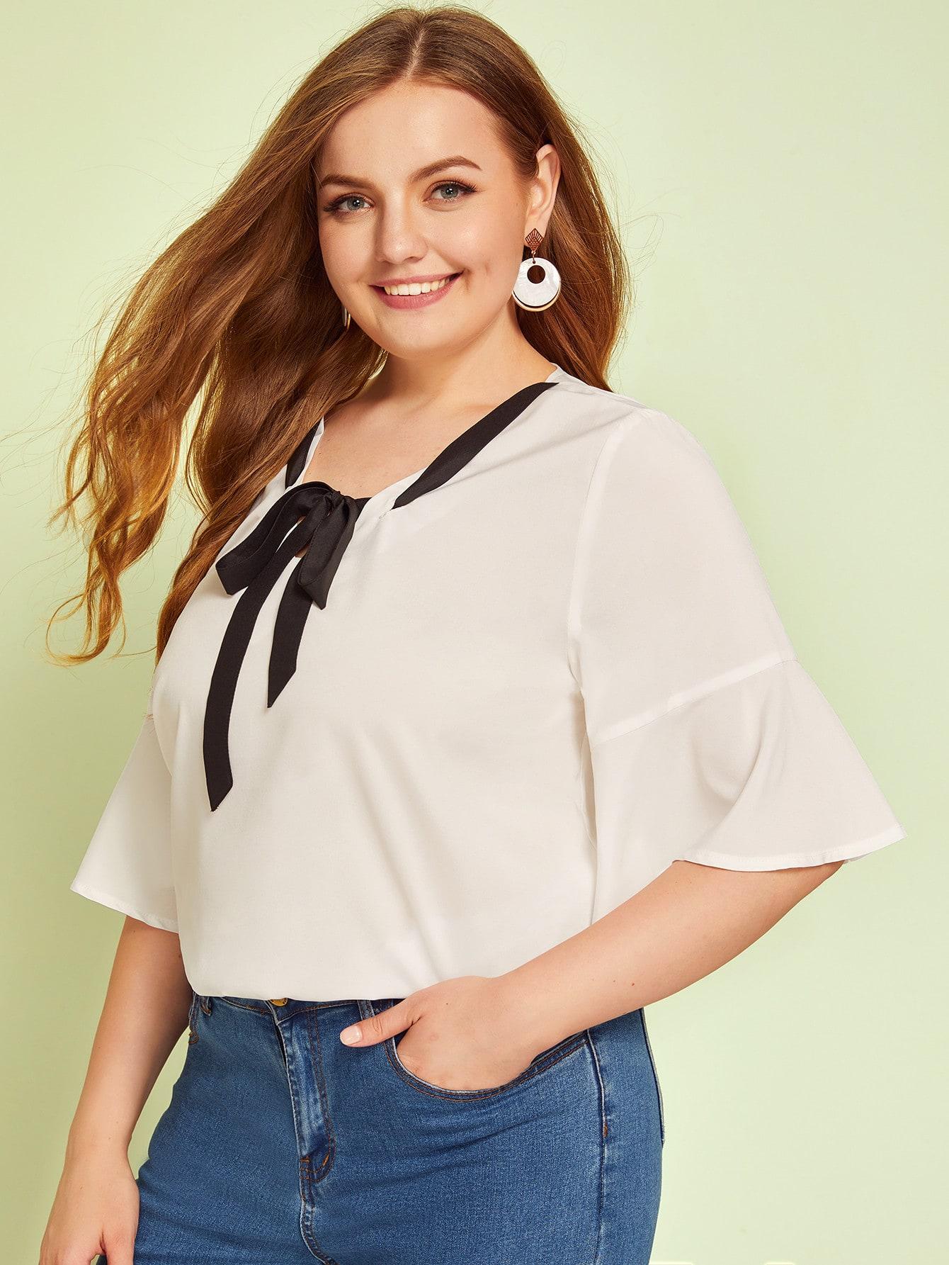 Фото - Блузу размера плюс с оригинальным рукавом и воротником-бантом от SheIn цвет белые