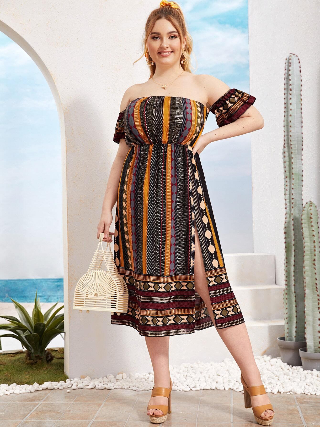 Фото - Платье размера плюс с открытыми плечами и племенным принтом от SheIn цвет многихцветные
