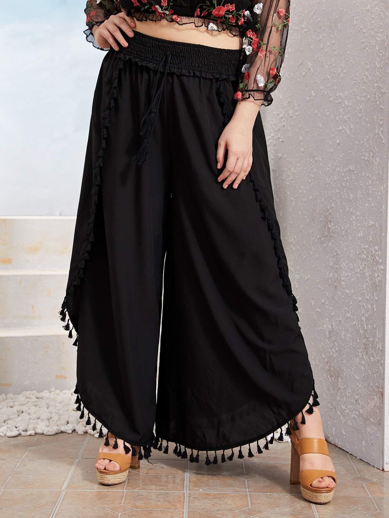 Фото - Широкие брюки размера плюс с бахромой от SheIn цвет чёрные