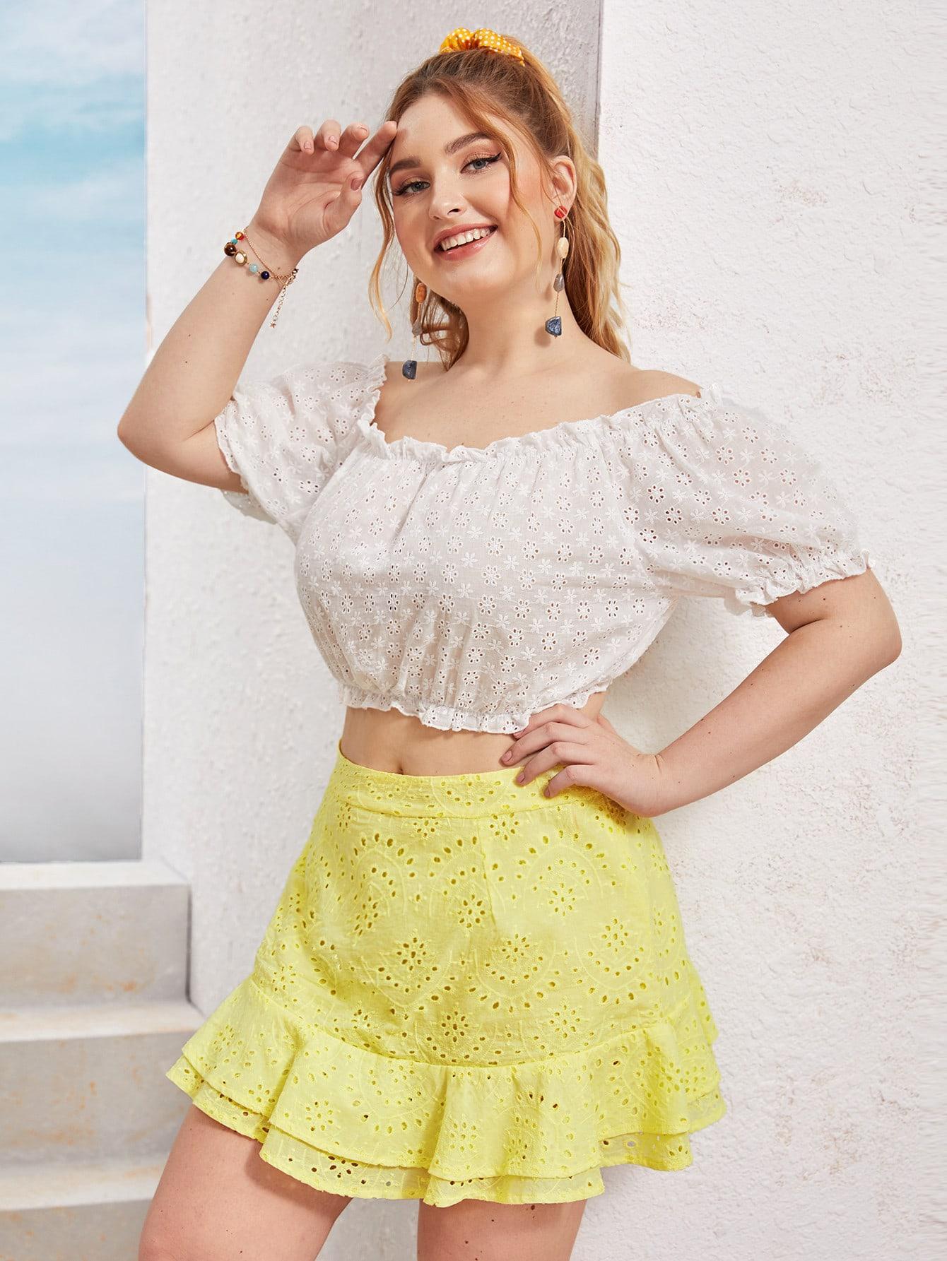 Фото - Юбку размера плюс с оборками от SheIn цвет жёлтые