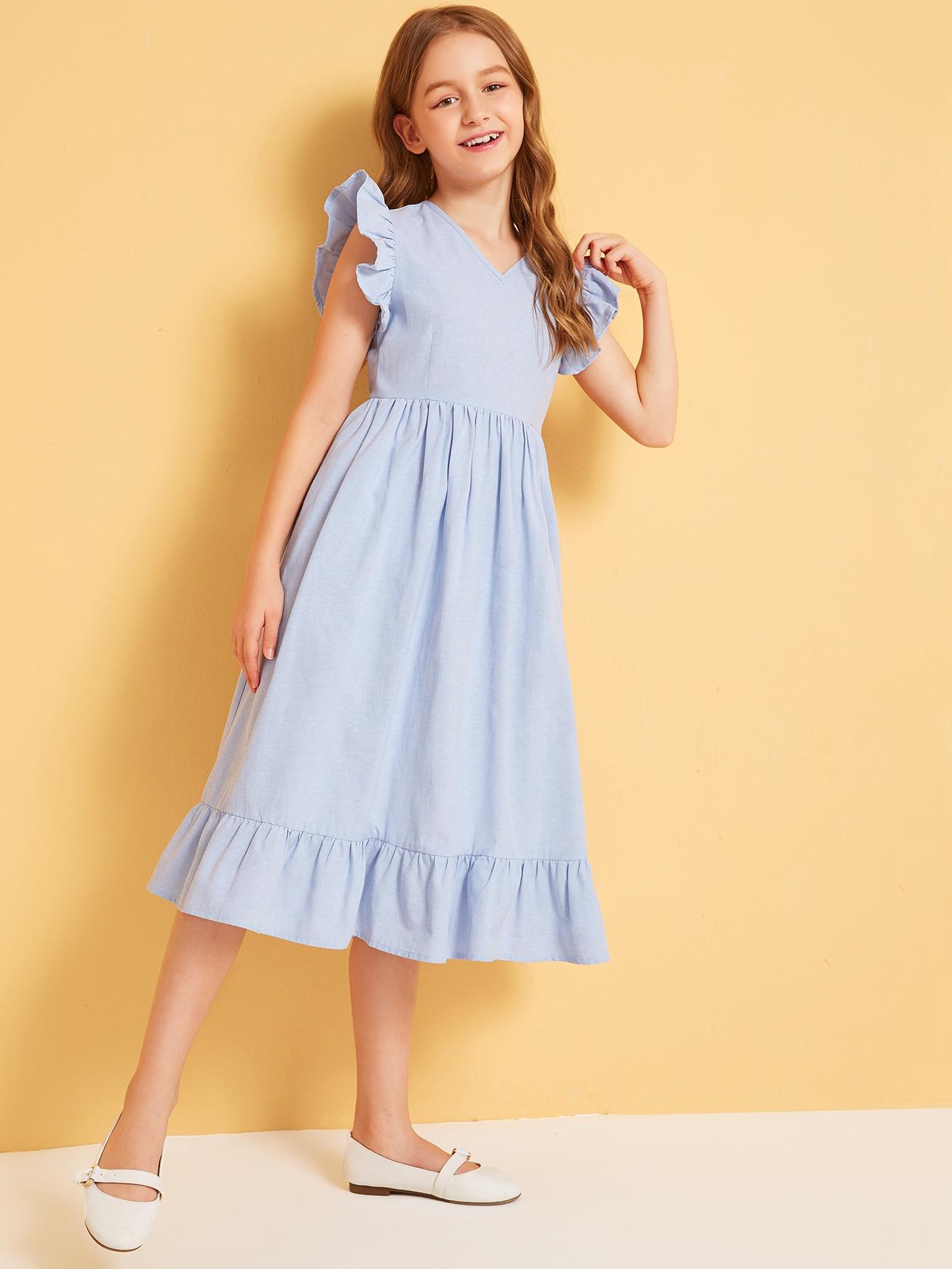 Фото - Плиссированное платье с оборками для девочек от SheIn цвет синие