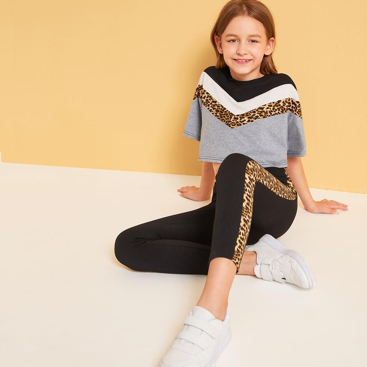 Леггинсы и топ с леопардовым принтом для девочек от SHEIN