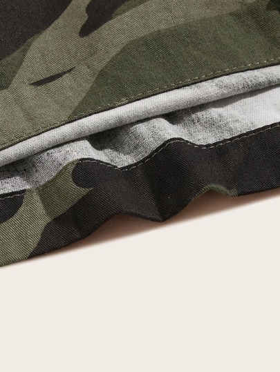 SheIn / Men Drawstring Waist Flap Pocket Camo Shorts