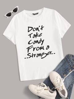Short Sleeve Slogan Print Top