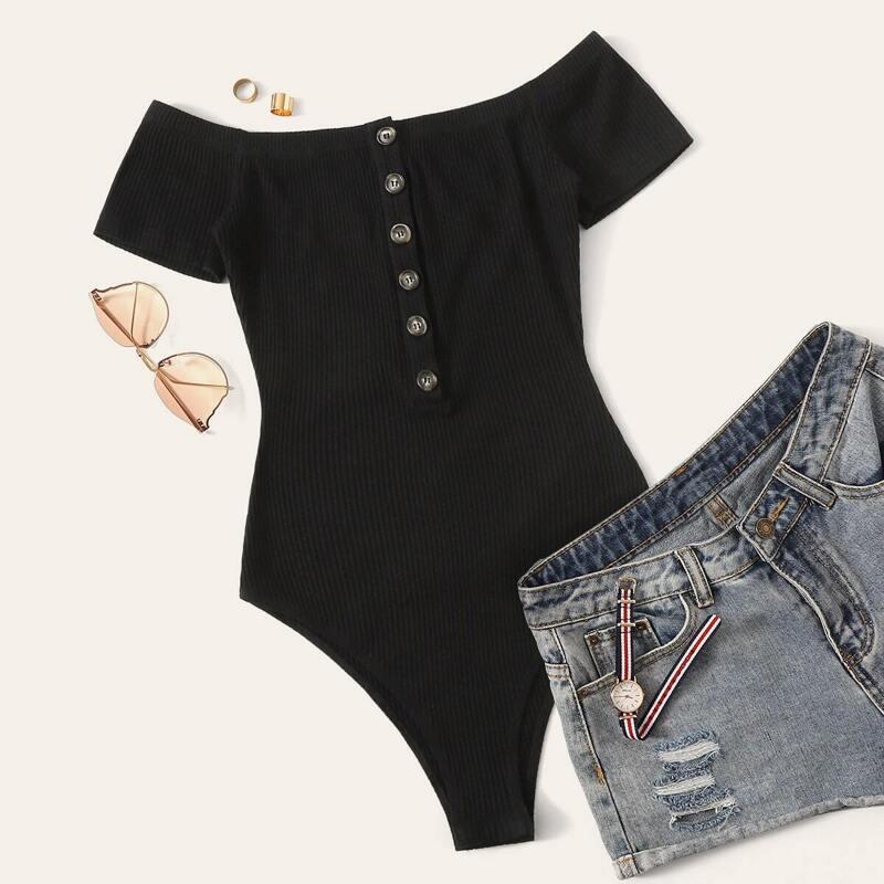 Off Shoulder Button Front Rib-knit Bodysuit, Black