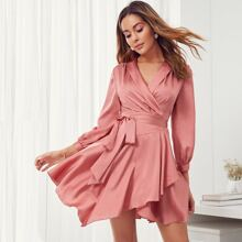 Shawl Collar Self Belted Asymmetrical Hem Wrap Satin Dress