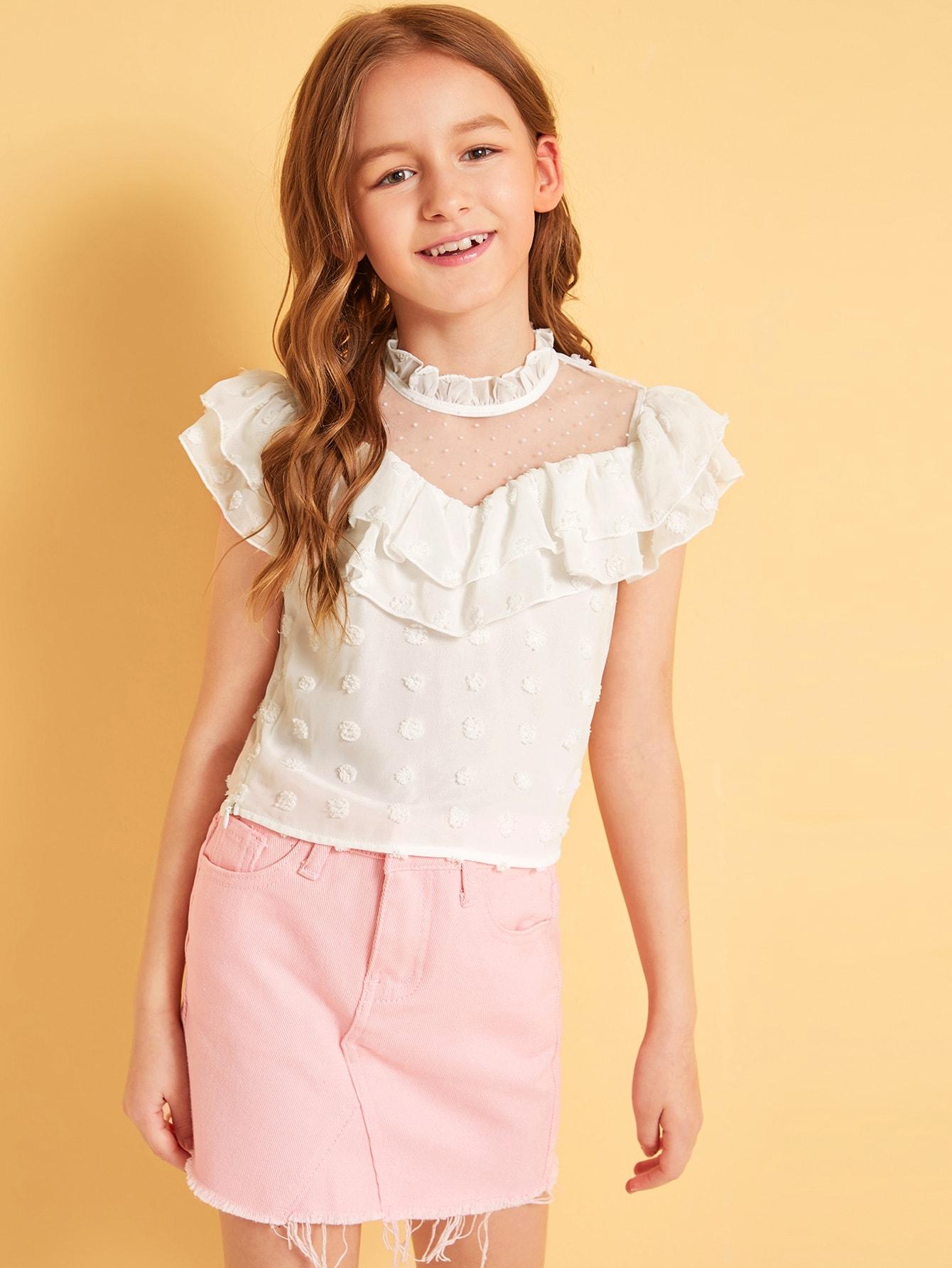 Фото - Топ с оборками и сетчатыми вставками для девочек от SheIn белого цвета