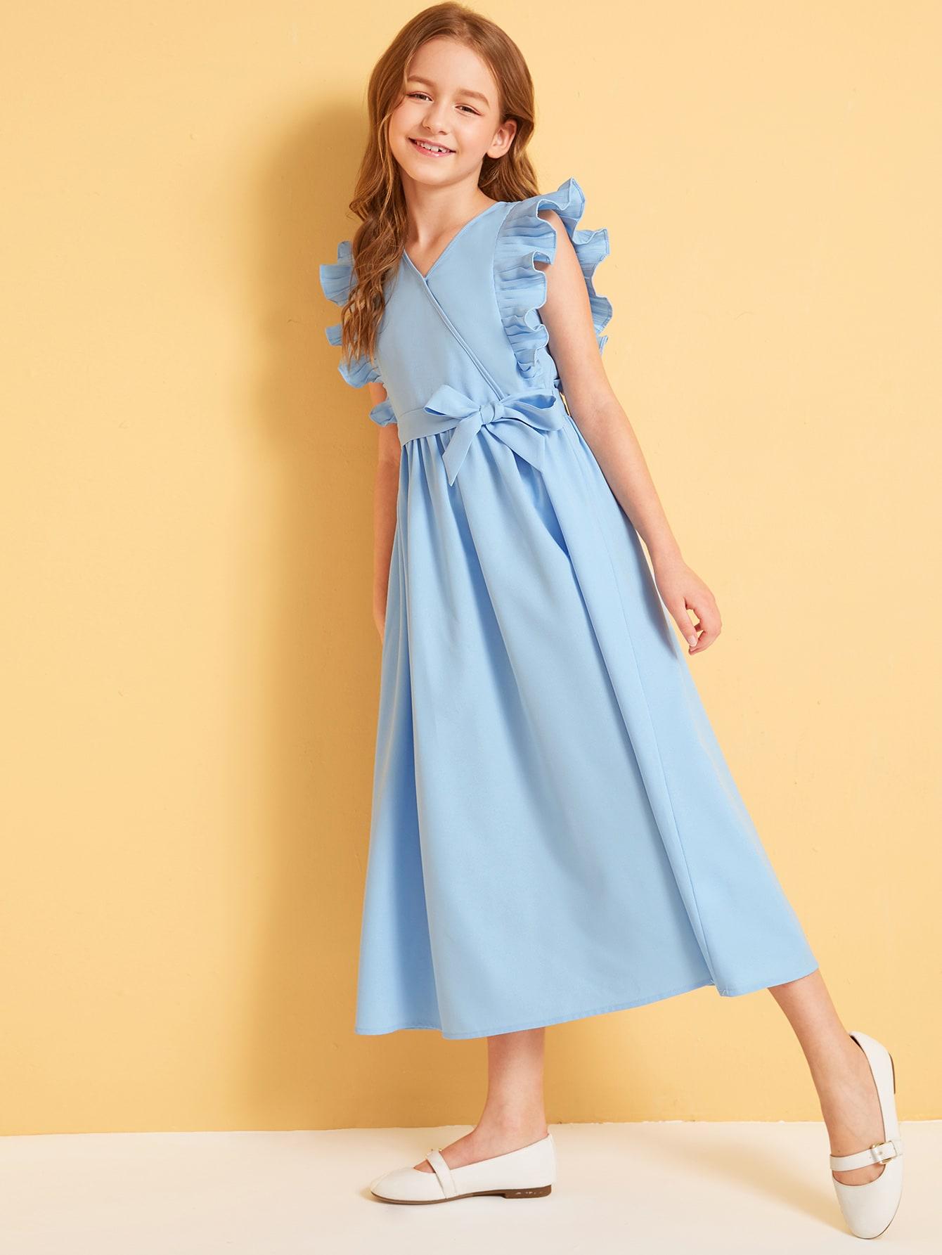 Фото - Платье со складками и оборками для девочек от SheIn цвет синие