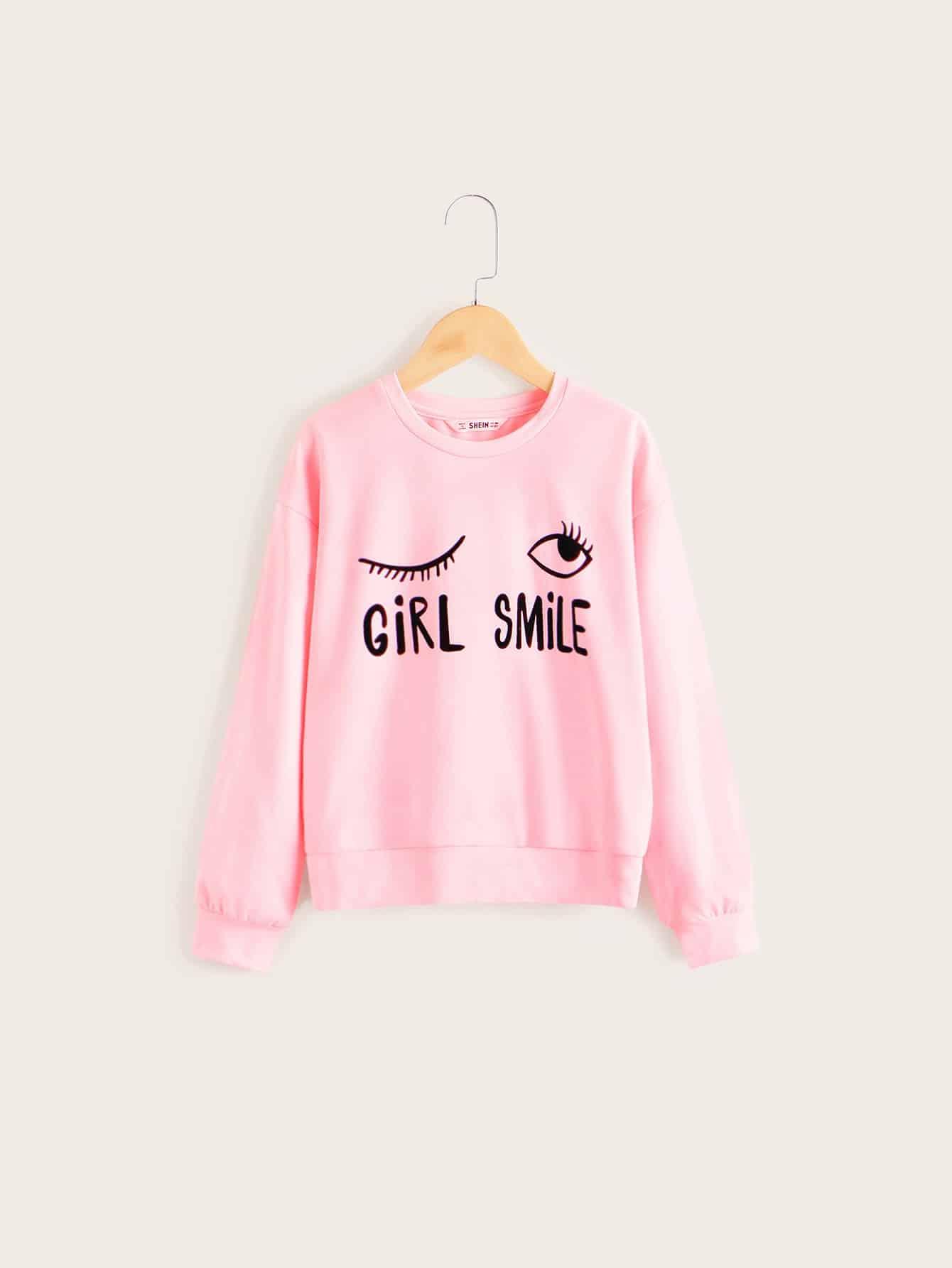Фото - Пуловер со смешанным принтом для девочек от SheIn розового цвета