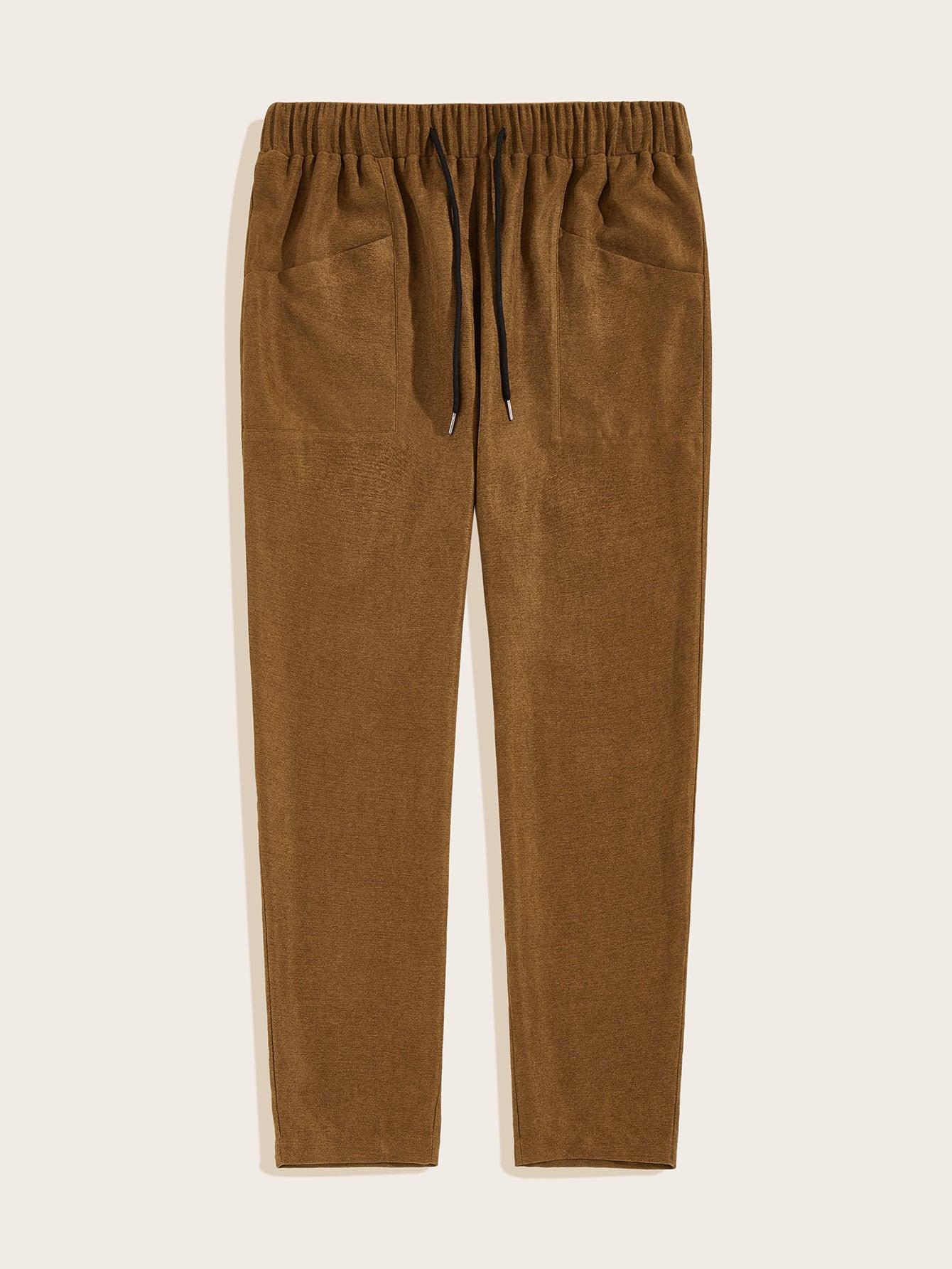 Фото - Мужские вельветовые брюки на кулиске от SheIn коричневого цвета