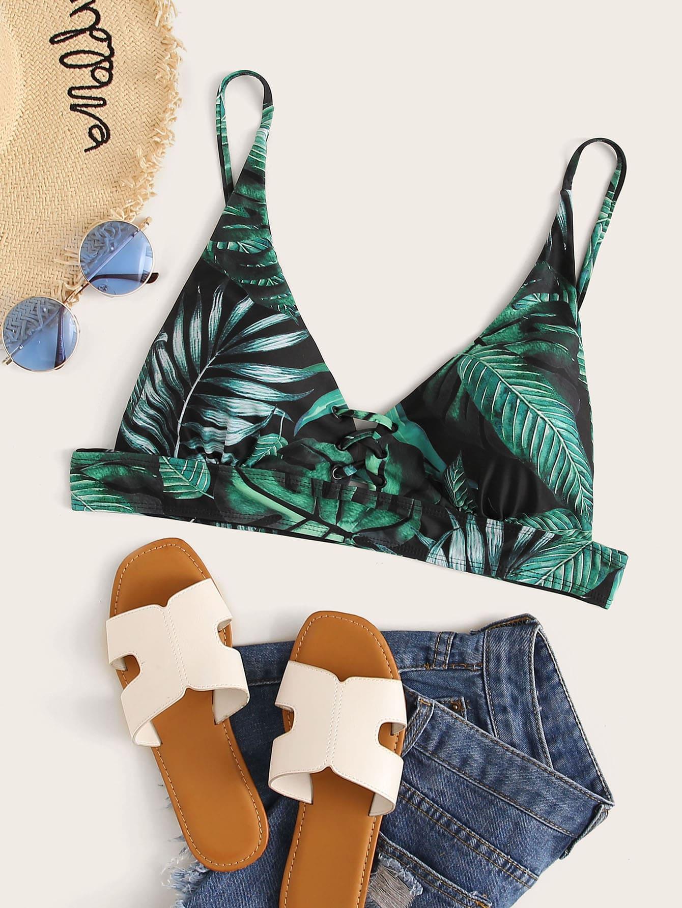 Фото - Топ для плавания размера плюс с тропическим принтом от SheIn цвет многоцветный