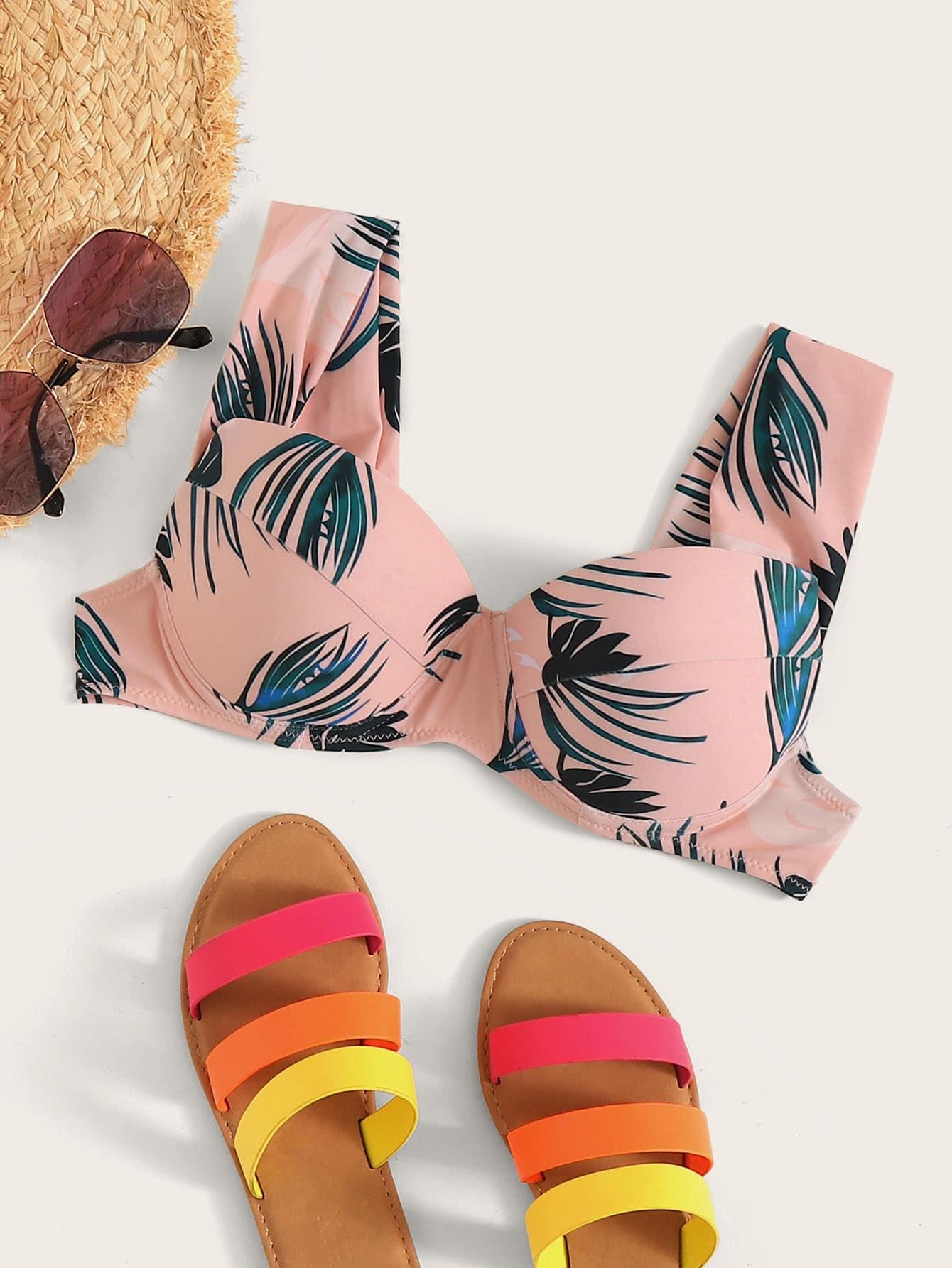 Фото - Топ для плавания с пальмовым принтом от SheIn розового цвета