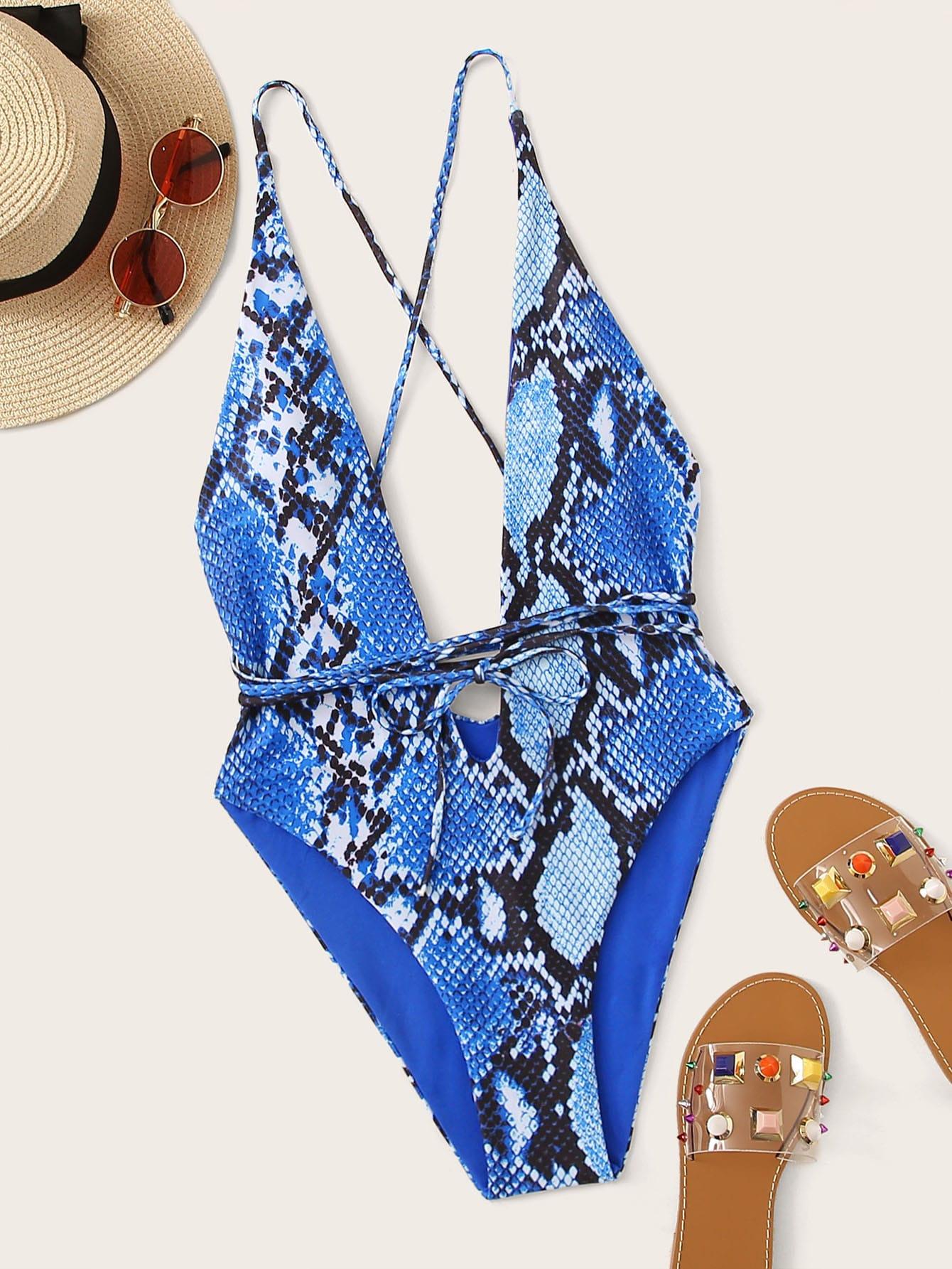 Фото - Слитный купальник с змеиным принтом от SheIn синего цвета