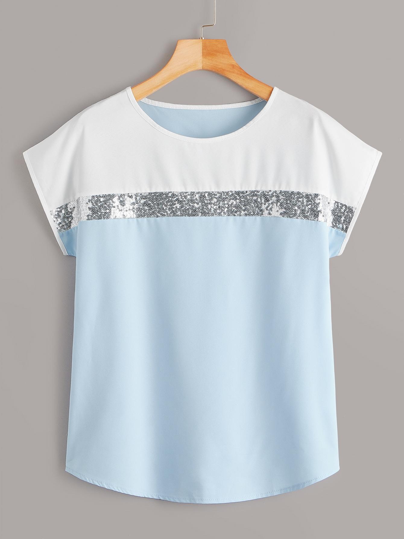 Фото - Контрастная блуза с блестками от SheIn цвет многоцветный