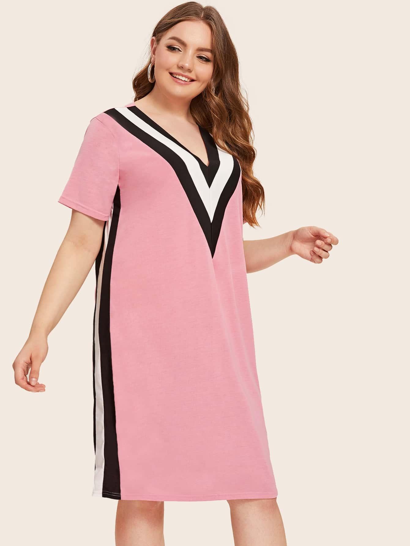 Фото - Платье в полоску с v-образным вырезом от SheIn цвет розовые