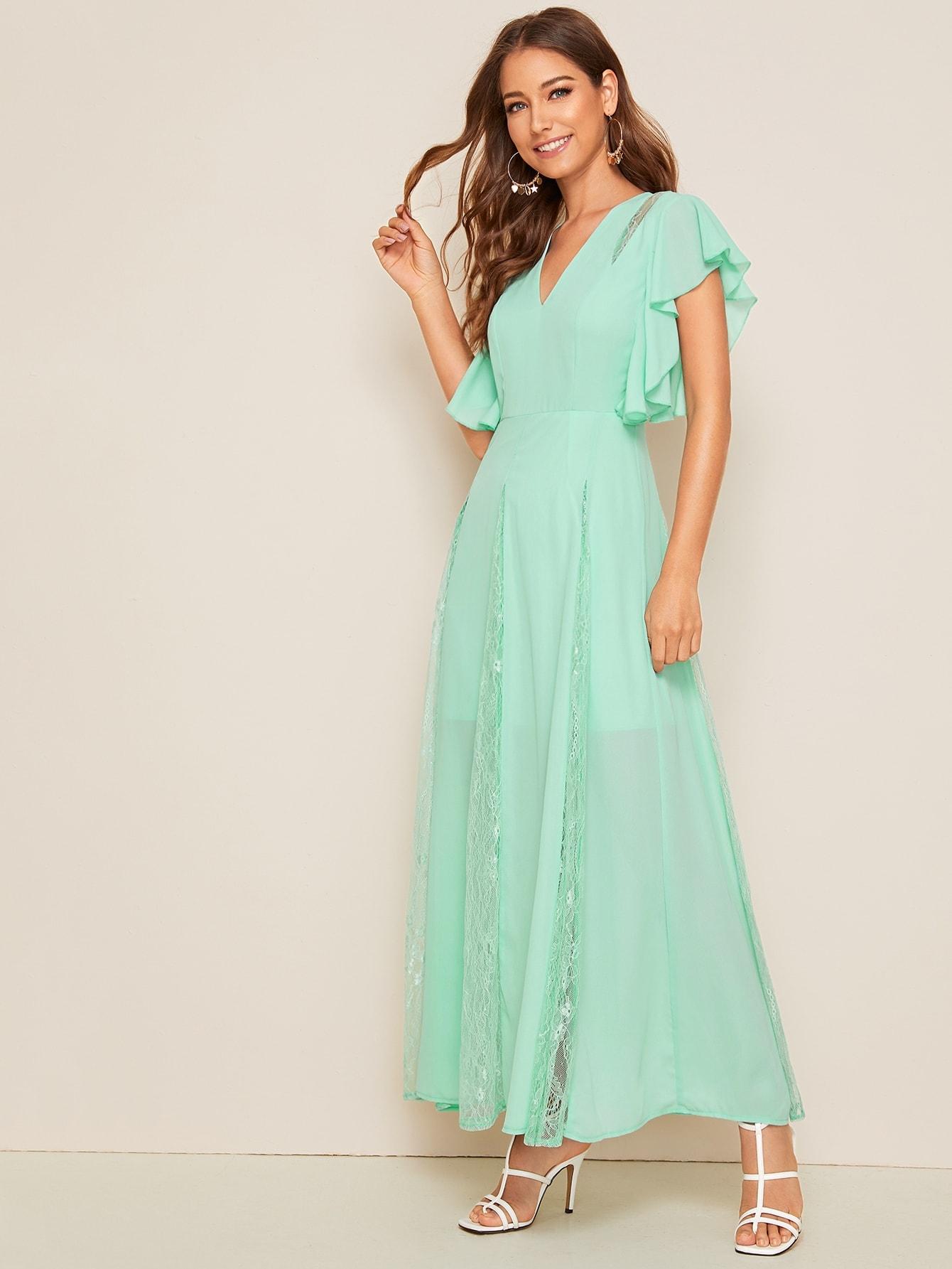 Фото - Платье с оригинальным рукавом и кружевом от SheIn цвет зелёные