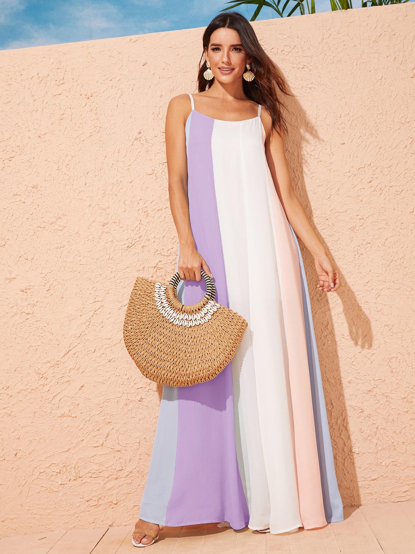 Фото - Контрастное длинное платье на бретелях от SheIn цвет многоцветный