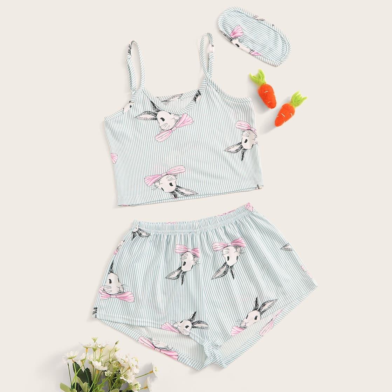 Пижама на бретелях с графическим принтом и маска для глаз для девочек от SHEIN