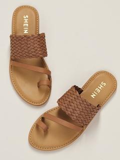 Basket Weave Band Toe Ring Flat Slide Sandals